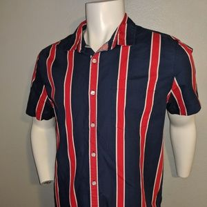 Forever 21 SS Red & Blue Stripe Shirt Size M
